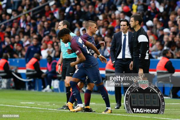 Christopher N'Kunku Marco Verratti and Unai Emery head coach of Paris Saint Germain during the Ligue 1 match between Paris Saint Germain and FC...