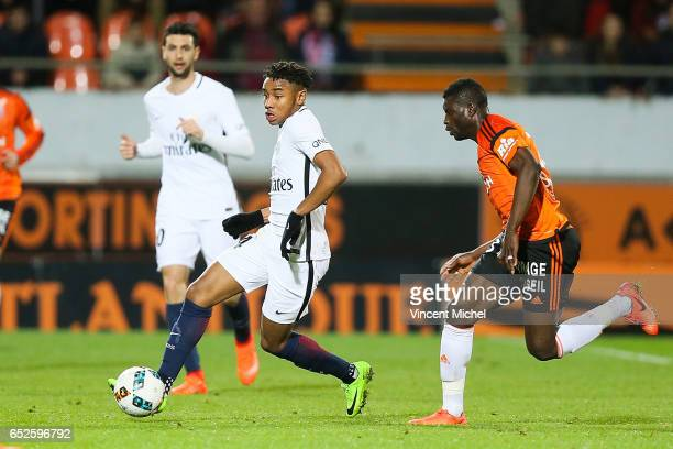 Christopher Nkunku of Paris Saint Germain during the French Ligue 1 match between Lorient and Paris Saint Germain at Stade du Moustoir on March 12...
