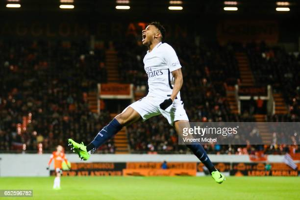 Christopher Nkunku of Paris Saint Germain jubilates after scoring the second goal during the French Ligue 1 match between Lorient and Paris Saint...