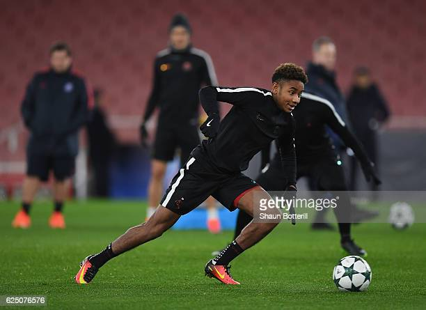 Christopher Nkunku of Paris SaintGermain during a training session at Emirates Stadium on November 22 2016 in London England