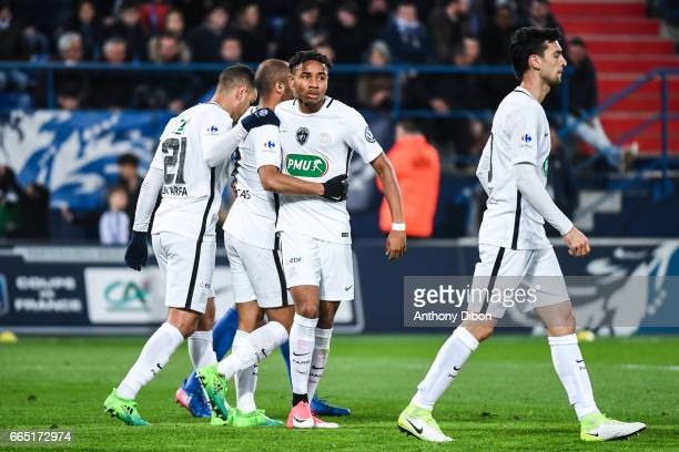 Christopher Nkunku of PSG celebrates after the goal of Lucas Moura during the French National Cup Quarter Final match between Us Avranches and Paris...