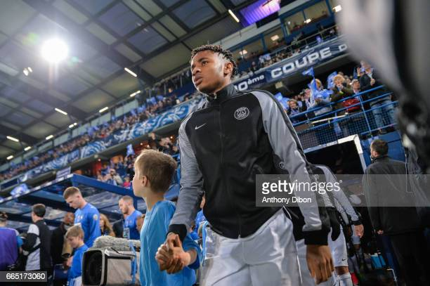 Christopher Nkunku of PSG during the French National Cup Quarter Final match between Us Avranches and Paris Saint Germain at Stade Michel D'Ornano on...