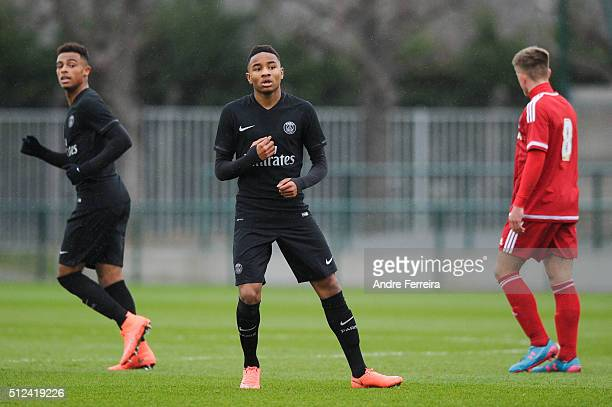 Christopher Nkunku of PSG during the Youth League match between Paris SaintGermain v Middlesbrough at Camp des Loges on February 24 2016 in Paris...