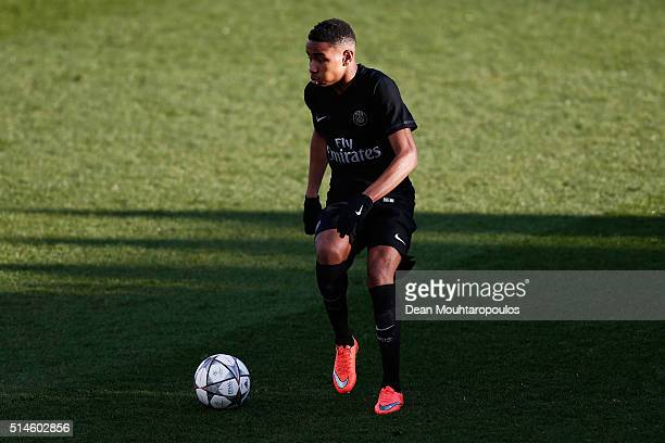 Christopher Nkunku of PSG in action during the UEFA Youth League Quarterfinal match between Paris Saint Germain and AS Roma at Stade GeorgesLefevre...