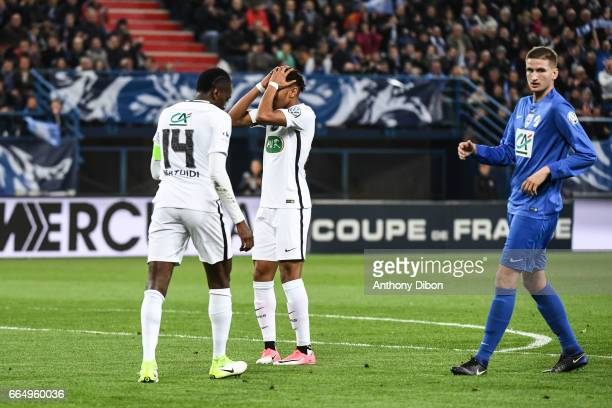 Christopher Nkunku of PSG looks dejected during the French National Cup Quarter Final match between Us Avranches and Paris Saint Germain at Stade...
