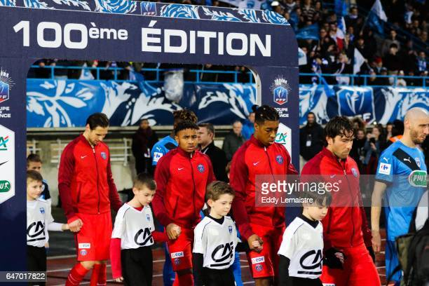 Christopher Nkunku Presnel Kimpembe of PSG at the entrance on the pitch during the French Cup match between Niort and Paris Saint Germain on March 1...