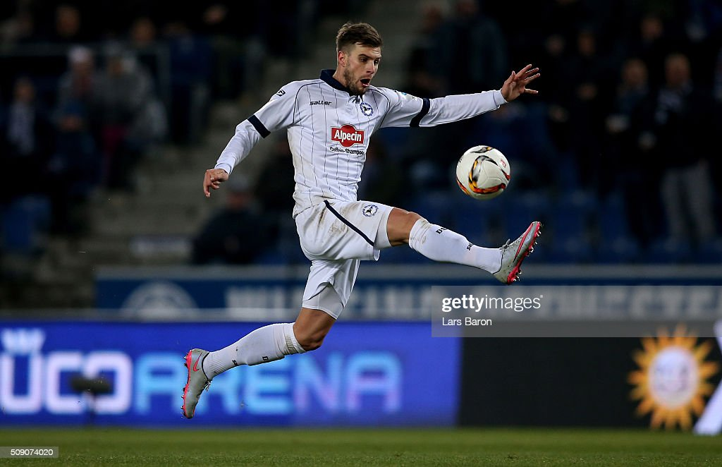 Christopher Noethe of Bielefeld runs with the ball during the Second Bundesliga match between Arminia Bielefeld and MSV Duisburg at Schueco Arena on February 8, 2016 in Bielefeld, Germany.