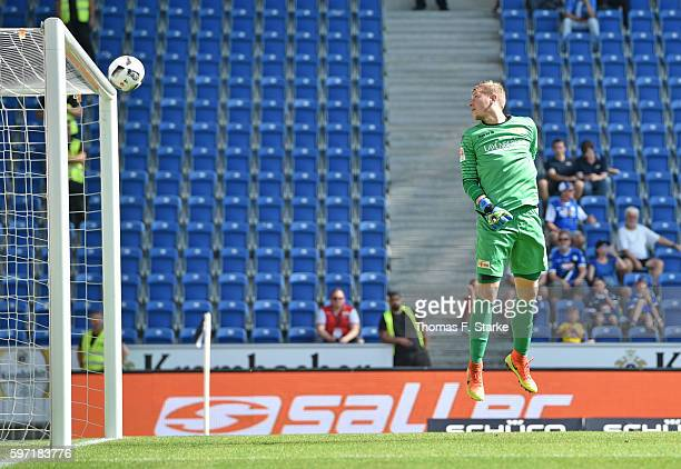 Christopher Noethe of Bielefeld scores against Jakob Busk of Berlin during the Second Bundesliga match between DSC Arminia Bielefeld and 1 FC Union...