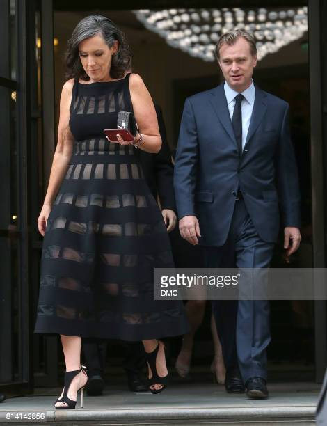 Christopher Nolan and Emma Thomas are seen leaving the hotel to the 'Dunkirk' World Premiere on July 13 2017 in London England