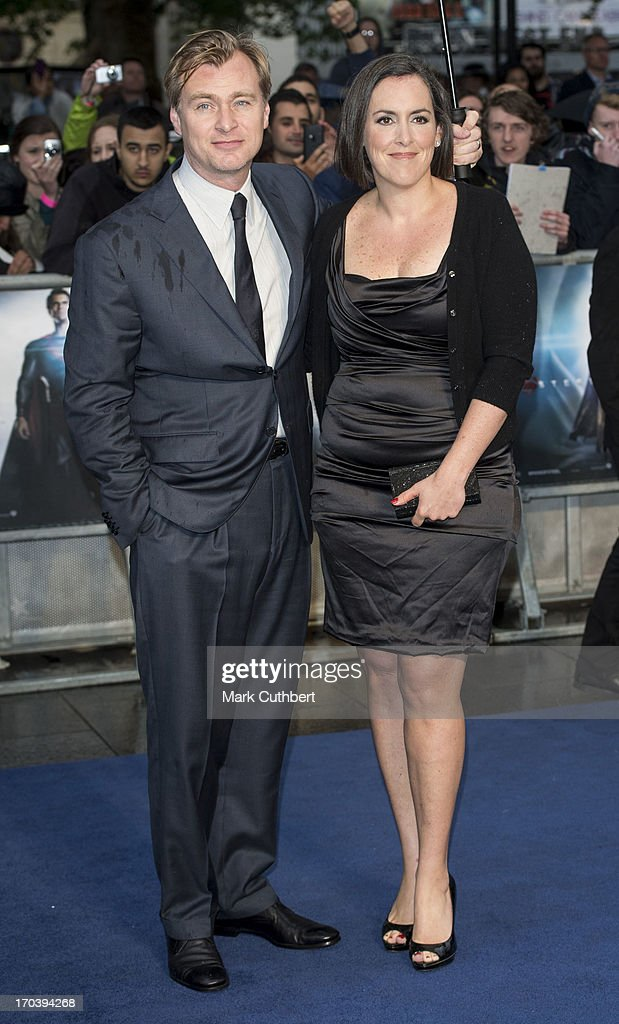 <a gi-track='captionPersonalityLinkClicked' href=/galleries/search?phrase=Christopher+Nolan&family=editorial&specificpeople=235975 ng-click='$event.stopPropagation()'>Christopher Nolan</a> and Emma Thomas attend the UK Premiere of 'Man of Steel' at Odeon Leicester Square on June 12, 2013 in London, England.
