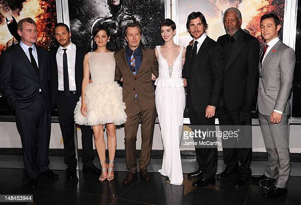 Christopher Nolan Tom Hardy Marion Cotillard Gary Oldman Anne Hathaway Christian Bale Morgan Freeman and Joseph GordanLevitt attend 'The Dark Knight...