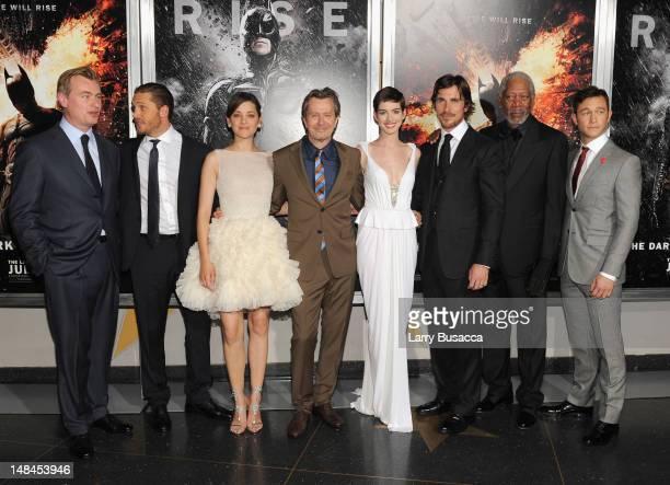 Christopher Nolan Tom Hardy Marion Cotillard Gary Oldman Anne Hathaway Christian Bale Morgan Freeman and Joseph GordanLevitt attend 'The Dark Knight...
