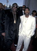 Christopher 'Notorious BIG' Wallace and Sean 'P Diddy' Combs at the Shrine Auditorium in Los Angeles California