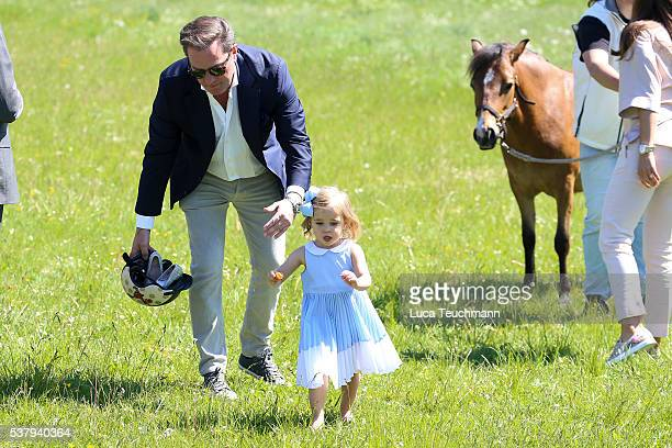 Christopher O'Neil and Princess Leonore of Sweden are seen visiting the stables on June 3 2016 in Gotland Sweden Duchess Leonore will meet her horse...