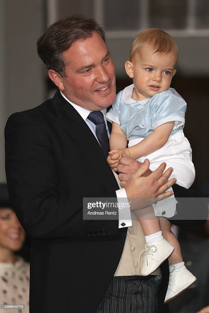 Christopher O'Neill and Prince Nicolas of Sweden are seen at Drottningholm Palace for the Christening of Prince Oscar of Sweden on May 27, 2016 in Stockholm, Sweden.