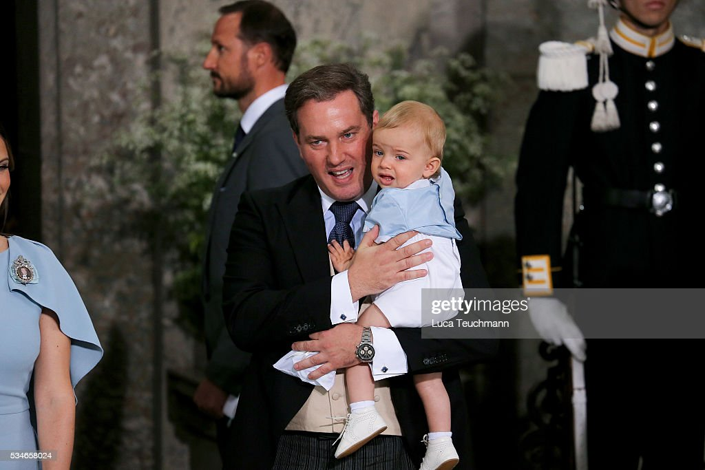 Christopher O'Neill and Prince Nicolas of Sweden are seen at The Royal Palace for the Christening of Prince Oscar of Sweden on May 27, 2016 in Stockholm, Sweden.