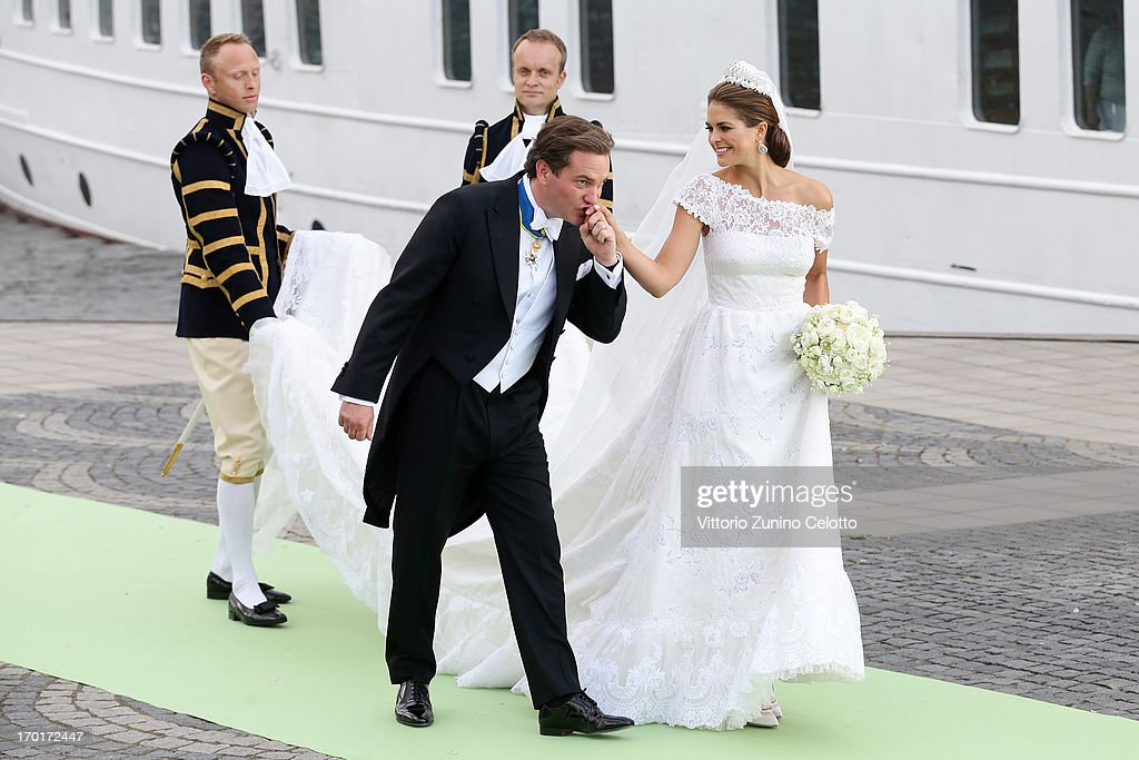 Christopher O'Neill and Princess Madeleine of Sweden depart for the banquet after the wedding ceremony of Princess Madeleine of Sweden and...