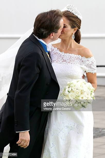Christopher O'Neill and Princess Madeleine of Sweden kisse while departing for the banquet after the wedding ceremony of Princess Madeleine of Sweden...