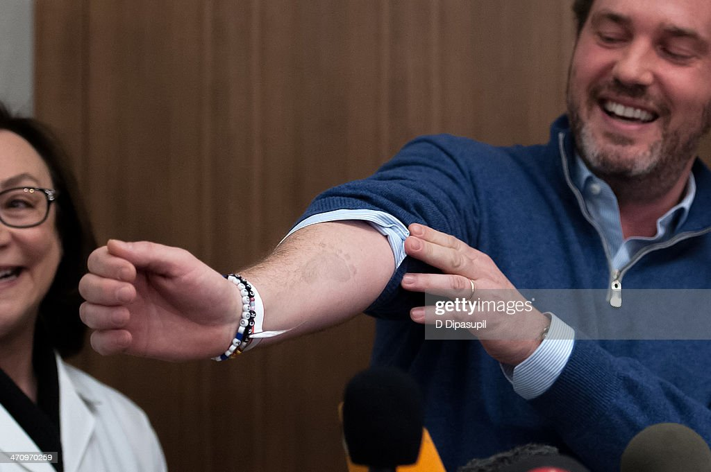 Christopher O'Neill, husband of H.R.H. Princess Madeleine of Sweden, shows a footprint on his arm from his newborn daughter at NewYork-Presbyterian/ Weill Cornell Medical Center on February 21, 2014 in New York City. The 31-year-old Princess, whose full title is Madeleine Therese Amelie Josephine, Princess of Sweden, Duchess of Halsingland and Gastrikland, is fourth in line to the throne of Sweden. She married US-British banker Christopher O'Neill in June, and the couple announced in September that they were expecting their first child. 'The Office of the Marshal of the Realm is delighted to announce that H.R.H. Princess Madeleine gave birth to a daughter on February 20, 2014 at 10.41 pm local time New York,' the Swedish court said. 'Both mother and child are in good health.'