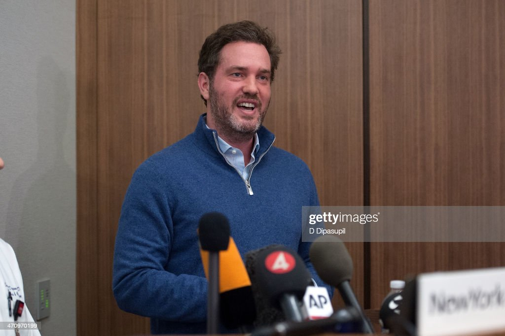 Christopher O'Neill, husband of H.R.H. Princess Madeleine of Sweden, speaks to the press after the birth of his newborn daughter at NewYork-Presbyterian/ Weill Cornell Medical Center on February 21, 2014 in New York City. 31-year-old Princess, whose full title is Madeleine Therese Amelie Josephine, Princess of Sweden, Duchess of Halsingland and Gastrikland, is fourth in line to the throne of Sweden. She married US-British banker Christopher O'Neill in June, and the couple announced in September that they were expecting their first child. 'The Office of the Marshal of the Realm is delighted to announce that H.R.H. Princess Madeleine gave birth to a daughter on February 20, 2014 at 10.41 pm local time New York,' the Swedish court said. 'Both mother and child are in good health.'