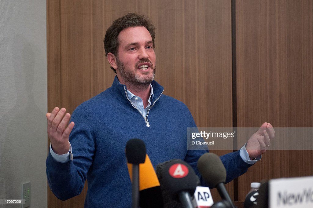 Christopher O'Neill, husband of H.R.H. Princess Madeleine of Sweden, speaks to the press at NewYork-Presbyterian/ Weill Cornell Medical Center on February 21, 2014 in New York City. The 31-year-old Princess, whose full title is Madeleine Therese Amelie Josephine, Princess of Sweden, Duchess of Halsingland and Gastrikland, is fourth in line to the throne of Sweden. She married US-British banker Christopher O'Neill in June, and the couple announced in September that they were expecting their first child. 'The Office of the Marshal of the Realm is delighted to announce that H.R.H. Princess Madeleine gave birth to a daughter on February 20, 2014 at 10.41 pm local time New York,' the Swedish court said. 'Both mother and child are in good health.'
