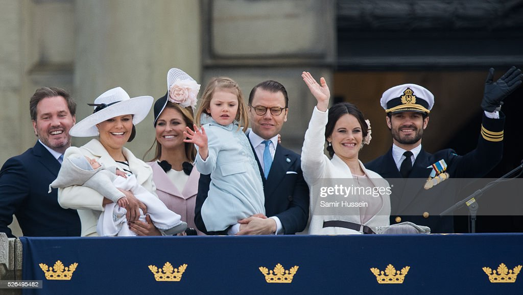 Christopher O'Neill, Prince Oscar of Sweden, Crown Princess Victoria of Sweden, Princess Madeleine of Sweden, Princess Estelle of Sweden, Prince Daniel of Sweden, Princess Sofia of Sweden, Prince Carl Philip of Sweden attend the choral tribute and cortege during the celebrations of the 70th birthday of King Carl Gustaf of Sweden on April 30, 2016 in Stockholm, Sweden.