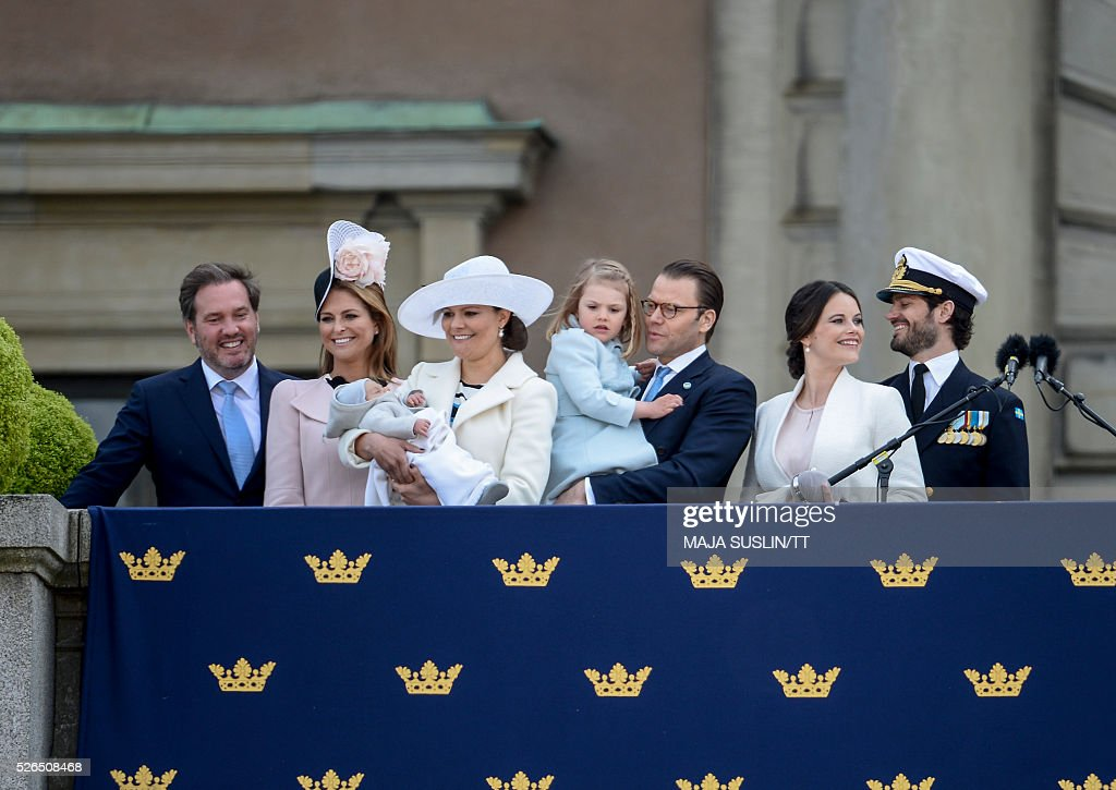 Christopher O'Neill, Princess Madeleine, Crown Princess Victoria, Prince Oscar, Crown Princess Victoria, Princess Estelle, Princess Sofia and Prince Carl Philip at Lejonbacken terrace at the Royal Palace in Stockholm, Sweden, during King Carl XVI Gustaf's 70th birthday celebrations on April 30, 2016. / AFP / TT News Agency / Maja Suslin/TT / Sweden OUT