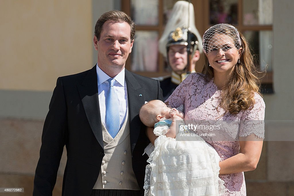 <a gi-track='captionPersonalityLinkClicked' href=/galleries/search?phrase=Christopher+O%27Neill&family=editorial&specificpeople=7470611 ng-click='$event.stopPropagation()'>Christopher O'Neill</a>, Princess Madeleine of Sweden and Princess Leonore as they leave for her Royal Christening at Drottningholm Palace Chapel on June 8, 2014 in Stockholm, Sweden.
