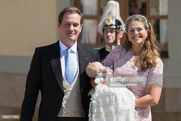 Christopher O'Neill Princess Madeleine of Sweden and Princess Leonore as they leave for her Royal Christening at Drottningholm Palace Chapel on June...