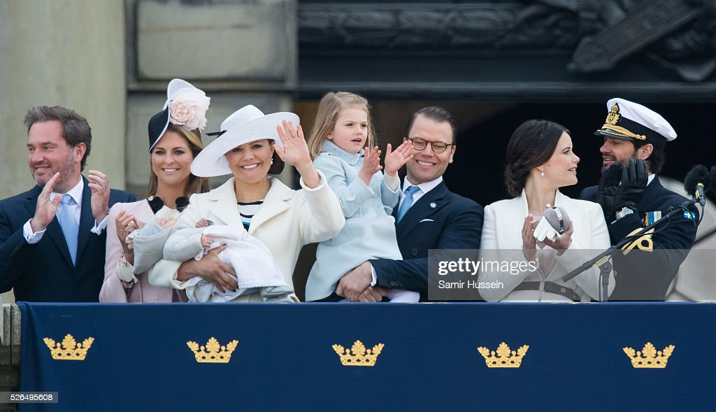 Christopher O'Neill, Princess Madeleine of Sweden, Prince Oscar of Sweden, Crown Princess Victoria of Sweden , Prince Daniel of Sweden, Princess Estelle of Sweden, Princess Sofia of Sweden and Prince Carl Philip of Sweden attend the choral tribute and cortege during the celebrations of the 70th birthday of King Carl Gustaf of Sweden on April 30, 2016 in Stockholm, Sweden.