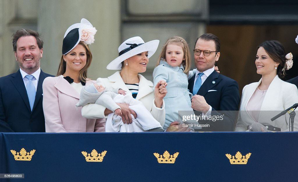 Christopher O'Neill, Princess Madeleine of Sweden, Prince Oscar of Sweden, Crown Princess Victoria of Sweden , Prince Daniel of Sweden, Princess Estelle of Sweden, Princess Sofia of Sweden attend the choral tribute and cortege during the celebrations of the 70th birthday of King Carl Gustaf of Sweden on April 30, 2016 in Stockholm, Sweden.