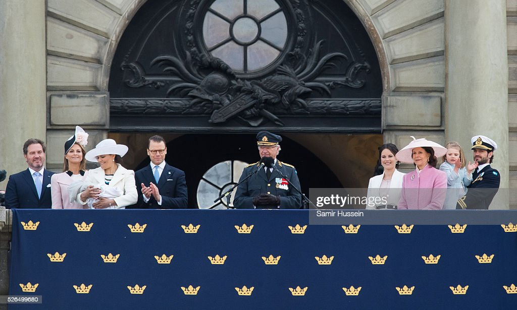 Christopher O'Neill, Princess Madeleine of Sweden, Prince Oscar of Sweden, Crown Princess Victoria of Sweden , Prince Daniel of Sweden, King Carl Gustaf of Sweden, Princess Sofia of Sweden, Queen Silvia, Princess Estelle of Sweden and Prince Carl Philip of Sweden attend the choral tribute and cortege during the celebrations of the 70th birthday of King Carl Gustaf of Sweden on April 30, 2016 in Stockholm, Sweden.
