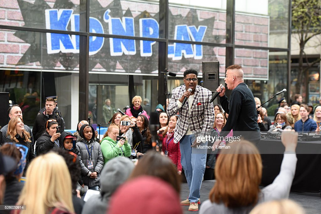 Christopher 'Play' Martin (L) and Christopher 'Kid' Reid of Kid 'n Play perform live on stage for NBC's 'Today' at Rockefeller Plaza on April 29, 2016 in New York City.