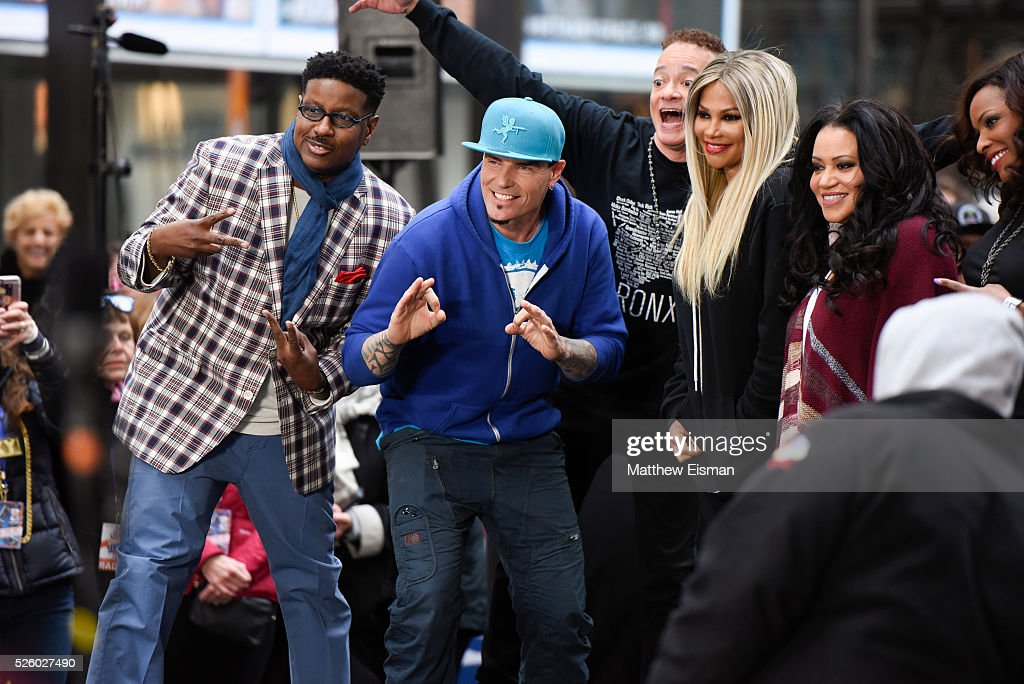 Christopher 'Play' Martin, Vanilla Ice, Christopher 'Kid' Reid, Sandra Denton, Cheryl James and Deidra Roper AKA DJ Spinderella perform live on stage for NBC's 'Today' at Rockefeller Plaza on April 29, 2016 in New York City.