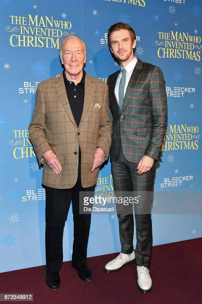 Christopher Plummer and Dan Stevens attend 'The Man Who Invented Christmas' New York screening at Florence Gould Hall on November 12 2017 in New York...