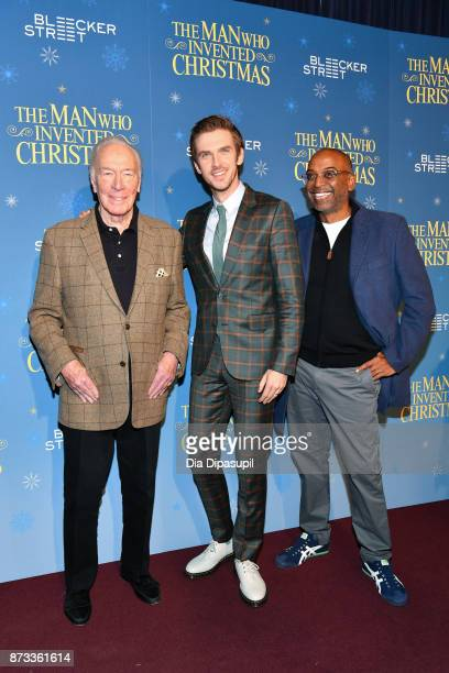 Christopher Plummer Dan Stevens and director Bharat Nalluri attend 'The Man Who Invented Christmas' New York screening at Florence Gould Hall on...