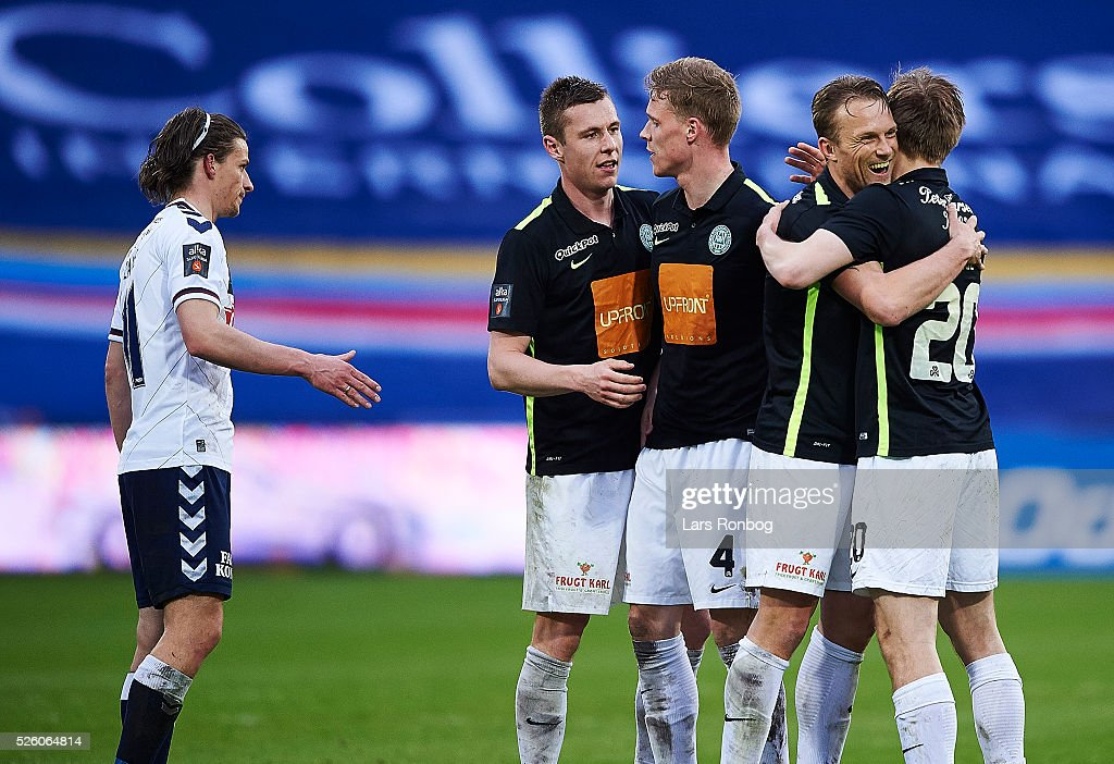 Christopher Poulsen of Viborg FF and Soren Reese of Viborg FF celebrate after the Danish Alka Superliga match between AGF Aarhus and Viborg FF at Ceres Park on April 29, 2016 in Aarhus, Denmark.