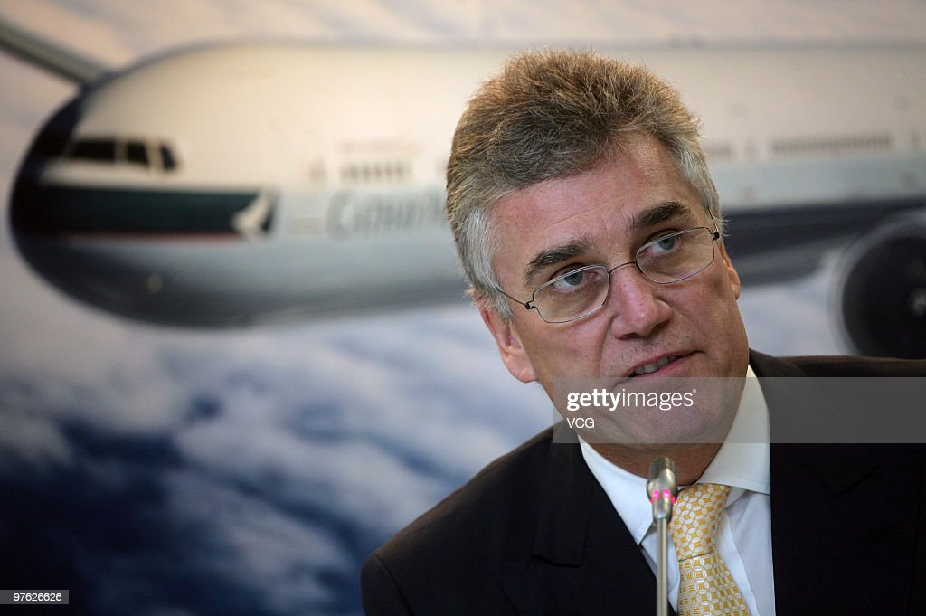 Christopher Pratt Chairman of Cathay Pacific attends the company's 2009 Annual Result Annoucement Press Conference on March 10 2010 in Hong Kong of...