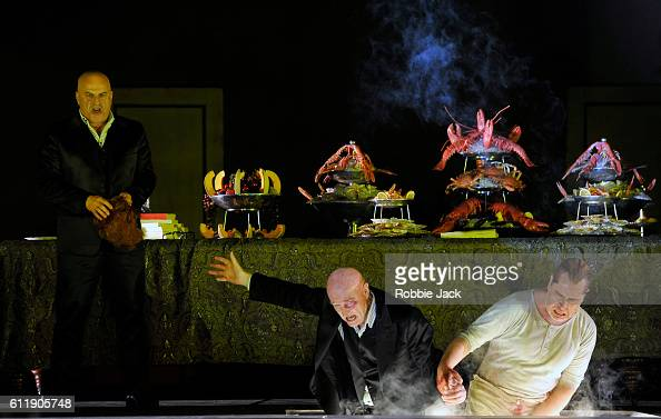 Christopher Purvis as Don Giovanni Clive Bayley as Leporello and James Creswell as Commendatore in English National Opera's production of Wolfgang...