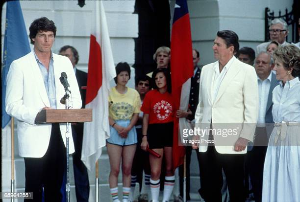 Christopher Reeve Ronald Reagan and Nancy Reagan attend a Special Olympics event circa 1983 in Washington DC