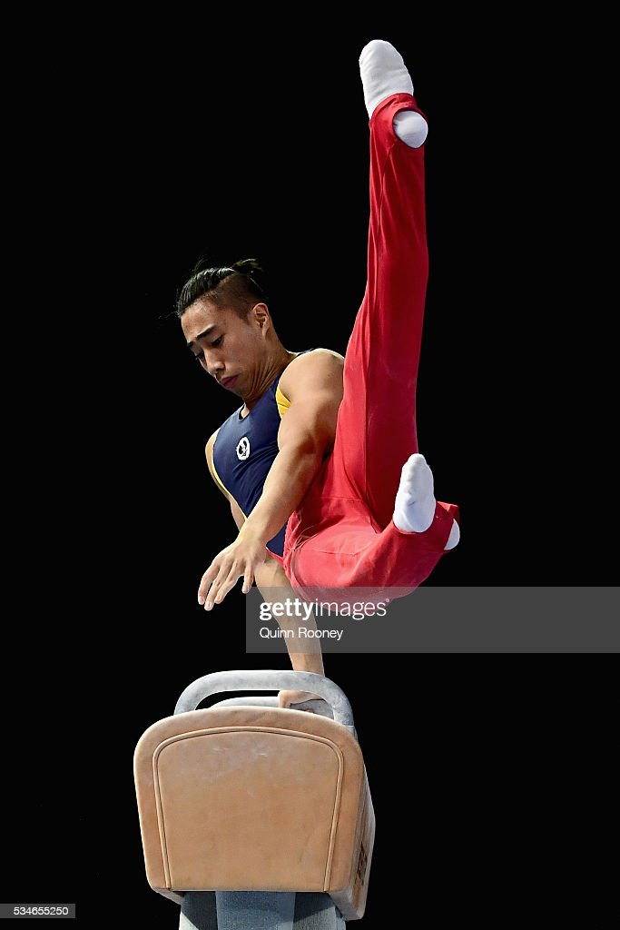 Christopher Rem of South Australia competes on the pommel horse during the 2016 Australian Gymnastics Championships at Hisense Arena on May 27, 2016 in Melbourne, Australia.