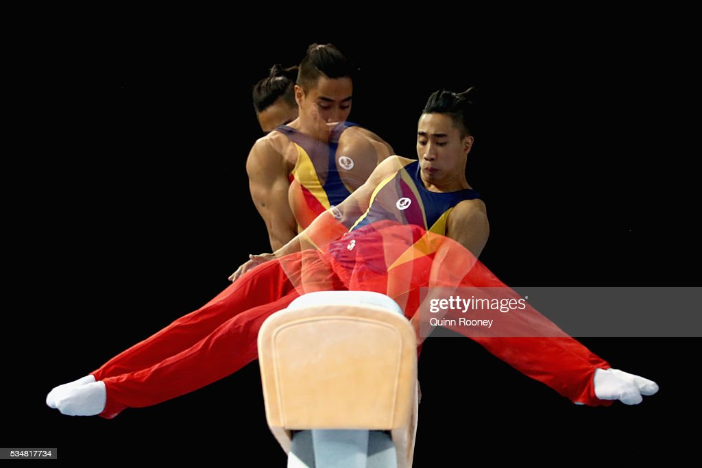 Christopher Remkes of South Australia competes on the pommel horse during the 2016 Australian Gymnastics Championships at Hisense Arena on May 28...