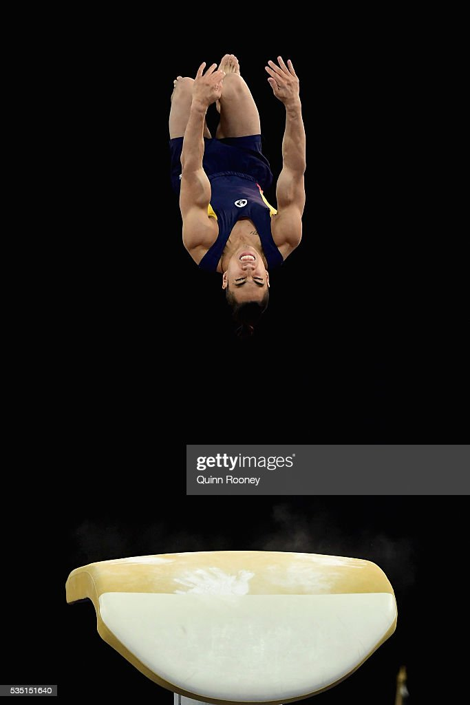 Christopher Remkes of South Australia competes on the pommel horse during the 2016 Australian Gymnastics Championships at Hisense Arena on May 29, 2016 in Melbourne, Australia.