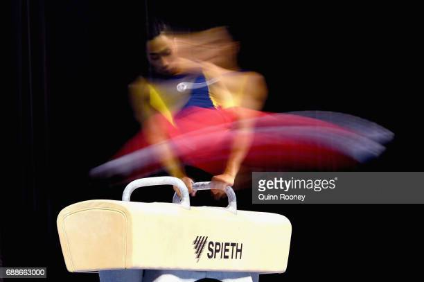 Christopher Remkes of South Australia competes on the Pommel Horse during the Australian Gymnastics Championships at Hisense Arena on May 26 2017 in...