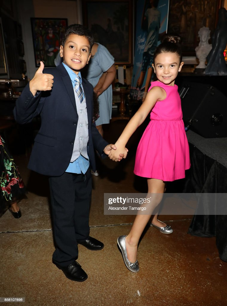 Christopher Rivera and Brooklynn Prince are seen at CubaOcho during 'THE FLORIDA PROJECT' Miami Premiere after party on October 5, 2017 in Miami, Florida.