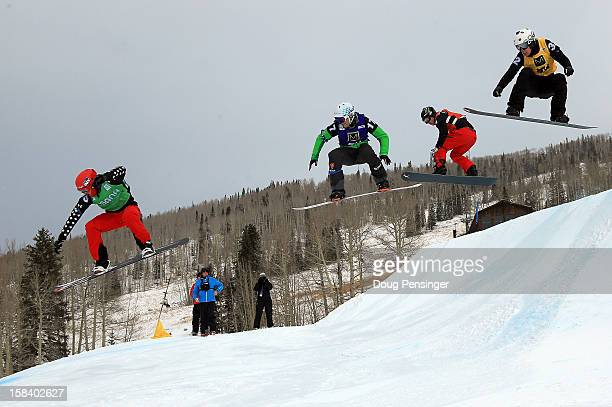Christopher Robanske of Canada Konstantin Schad of Germany Nate Holland of the USA and Anton Lindfors of Finland compete in the first leg of their...
