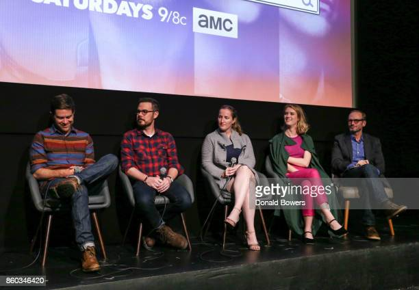 Christopher Rogers Christopher Cantwell Melissa Bernstein Mackenzie Davis and Toby Huss attend The 'Halt And Catch Fire' Screening And Panel at IFC...