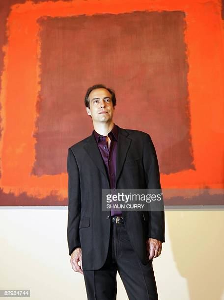 Christopher Rothko son of Russian born US artist Mark Rothko poses for photographs at a press view for an exhibition dedicated to the late Mark...