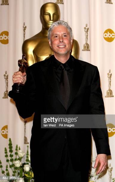 Christopher Rouse with the award for Achievement in Film Editing received for Bourne Ultimatum at the 80th Academy Awards at the Kodak Theatre Los...