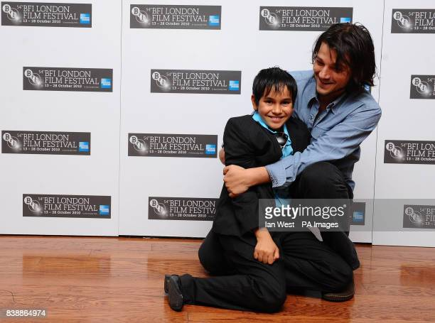 Christopher RuizEsparza and Diego Luna are seen at a photocall for new film Abel at the Vue cinema in London